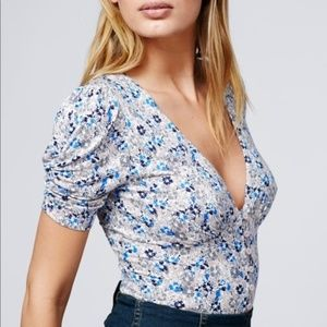 FREE PEOPLE Hollywood Floral Ruched Button Blouse
